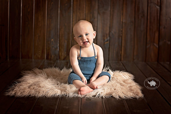 BABY ROMPER: 6M, 12M, teal ribbed knit romper, baby stretch romper, baby photo prop, stretch teal knit fabric, handmade, photography prop