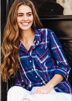 SAWYER SHIRT - NAVY & RASPBERRY PLAID