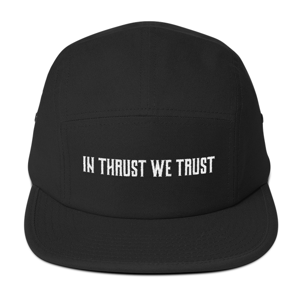 The In Thrust We Trust Black Camper hat is one of our all time favorite hats.