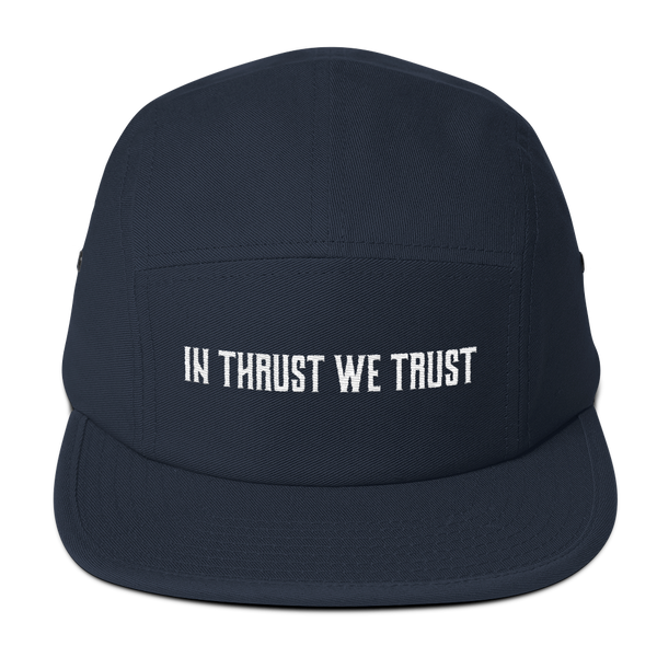 The In Thrust We Trust Navy Camper Hat is the perfect gift for the pilot in your life.