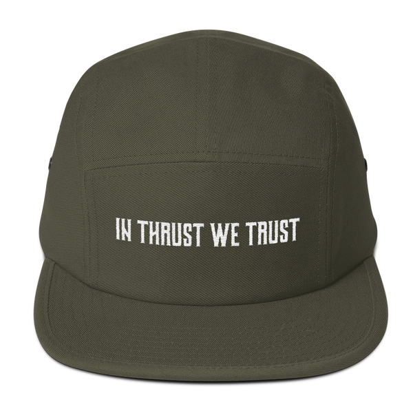 I love this In Thrust We Trust Olive Camper Hat. It's perfect for long flights.