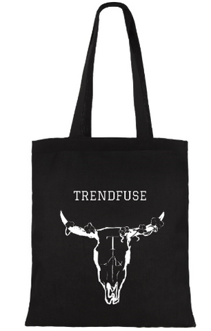 black cotton tote print making skull trendfuse