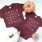 Grace Upon Grace Burgundy Kids Tee/Onesie