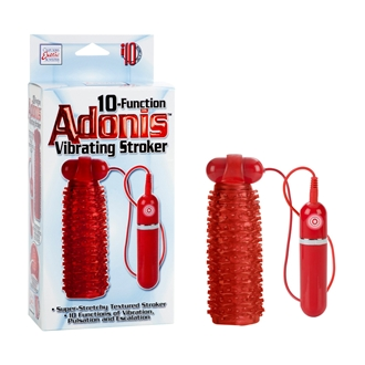 10 Function Adonis Vibrating Stroker with Removable Vibrating Bullet - Red Masturbator