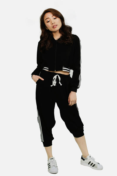 Black track jacket with track pants