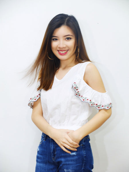 white eyelet embroidered crop top