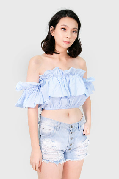 Blue linen off shoulder with garter ruffle sleeves