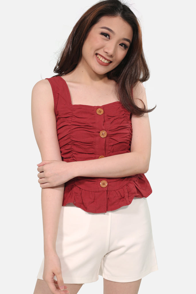 Maroon button down thick strap garterzied draping
