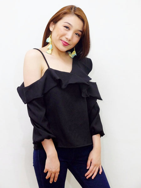 black sided off soulder with single strap top - Seventh Street Ph