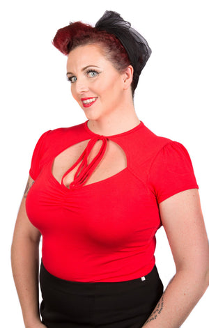 Red Pin-Up Tie Top