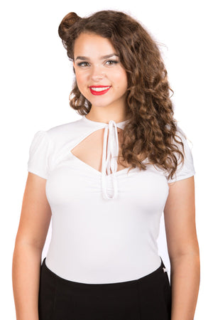 White Pin-Up Tie Top