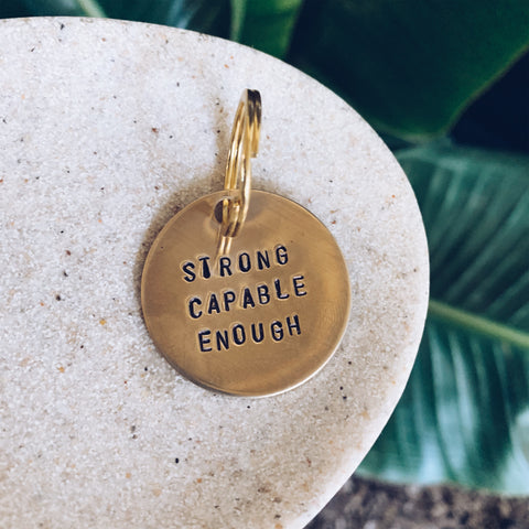 Strong Capable Enough - Brass Keychain - JOURNEYSTRENGTH