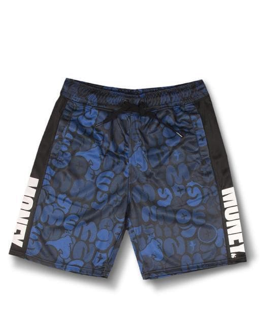 NAVY BUBBLE TRICOT TRACK SHORTS