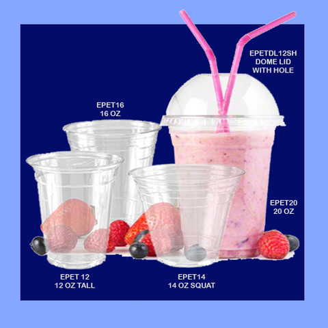 EPET14 - 14 OZ / 12 OZ SQUAT - CLEAR PLASTIC CUPS