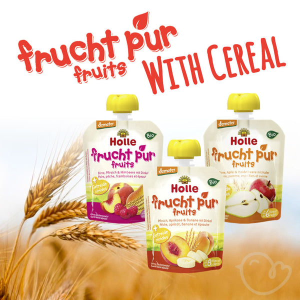 Holle Organic Pure Fruit With Cereal Pouches Variety - 90g each (6x Pack)