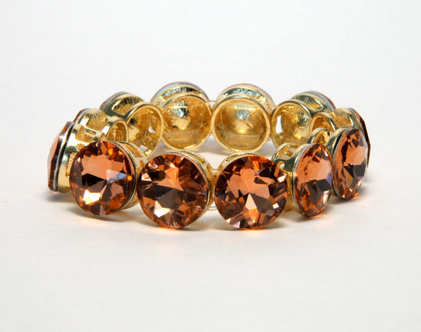 Heftsi Gold Plated Bracelet With Peach Color CZ