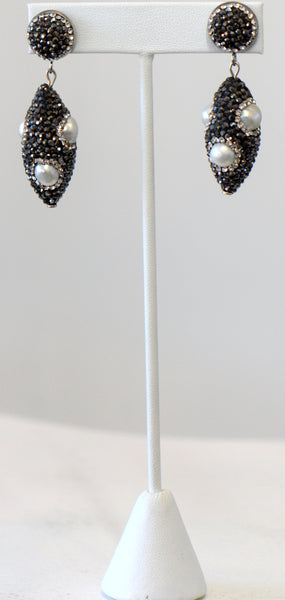 Pearls With Black Pave Setting Earrings