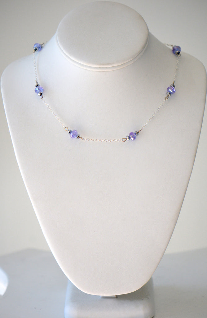 Silver Color Chain with purple And Clear crystal beads