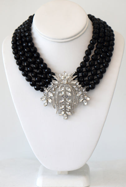 Heftsi Black Onyx Four Row Necklace With Vintage inspiration Pendant
