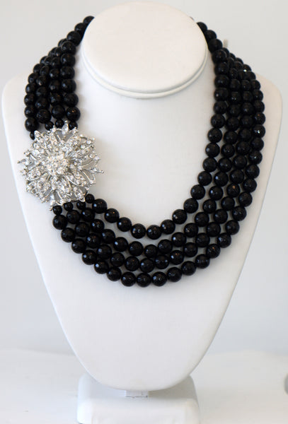 Heftsi Black Onyx Multi Row Necklaces With Clear CZ Pendant