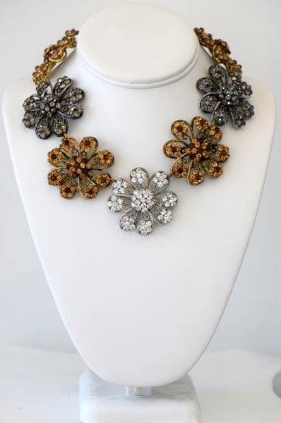 Heftsi Gold, Silver And Black  Flower Necklace