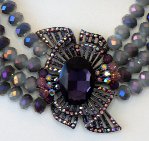 Heftsi Purple Crystal Necklace With Large Flower center piece