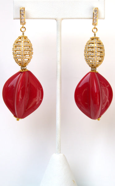 Red And Pave Gold Ball Earrings