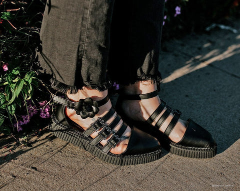 Black TUKskin™ Strappy Rose Mary Jane Creeper