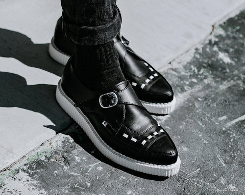Black TUKskin™ & White Pointed Buckle Creeper