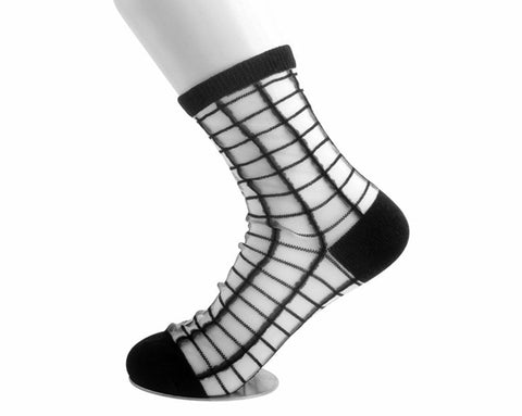 Black Grid Sheer Sock