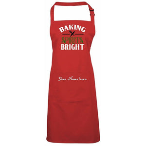 Baking Spirits Bright Personalized Apron One Size / Red