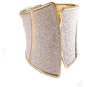 Gold & Silver Sparkling Corset Look Hinged Cuff Bracelet Bracelets