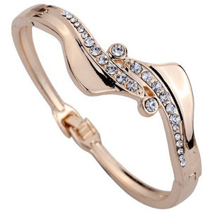 Rose Gold Rhinestone Wave Bangle Bracelet Bracelets