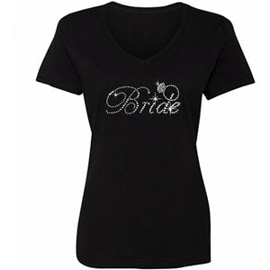 Bridal Rhinestone Bling T-Shirt S / Black V-Neck T-Shrts