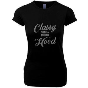 Classy With A Touch of Hood Crew Neck T Shirt