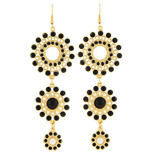 Gold Tone Black And Cream Graduated Dangle Earrings Jewelry