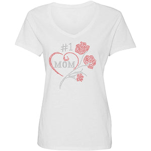 Number One Mom With Roses Rhinestone Tee - Zoe and Eve