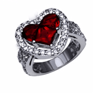 Path To My Heart Cz Ring 6 / Red Rings