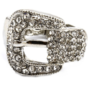 Silver Rhinestone Buckle Stretch Ring One Size / Rings