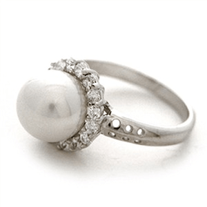 Sterling Silver Cubic Zirconia Pearl Ring / 7 Rings