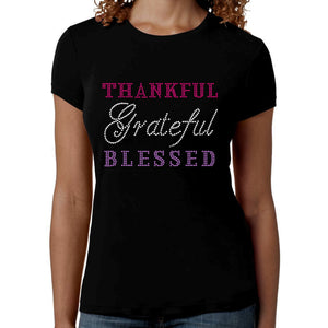 Thankful Grateful Blessed Rhinestone T Shirt - Zoe and Eve