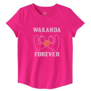 Wakanda Forever Girls Warrior Rhinestone Tee - Zoe and Eve