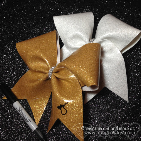 Glitter Autograph Bow, Autograph Bow, Gold,  White, Red, Blue Autograph Bow, - Bling Bow Love - 1
