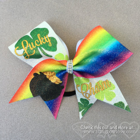Lucky Charm Bow, Glitter Bow, Cheer Bow - Bling Bow Love - 1