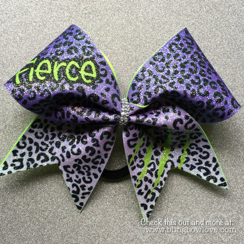 Fierce Bow - Purple and Green - Bling Bow Love - 1