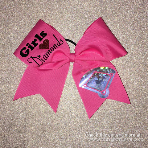 Girls Love Diamonds - Softball Bow - Pink - Bling Bow Love - 1