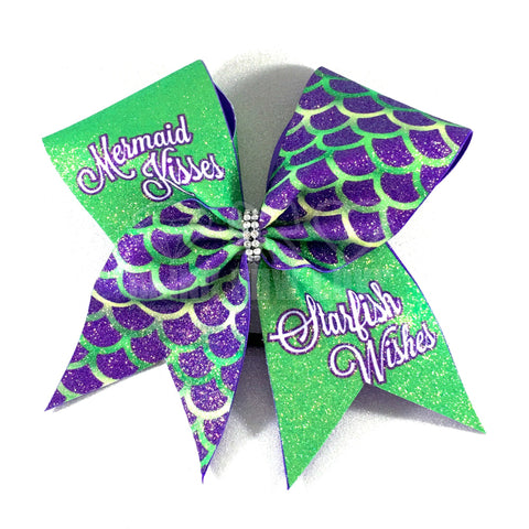 Mermaid Kisses Cheer Bow - Bling Bow Love