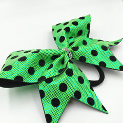 Green Polka Dot Cheer Bow // Lime Green Holographic // Black Velvet Dots - Bling Bow Love - 4
