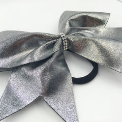 Dark Silver Metallic Cheer Bow - Bling Bow Love - 3