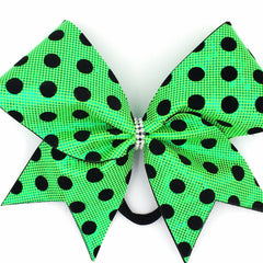 Green Polka Dot Cheer Bow // Lime Green Holographic // Black Velvet Dots - Bling Bow Love - 2